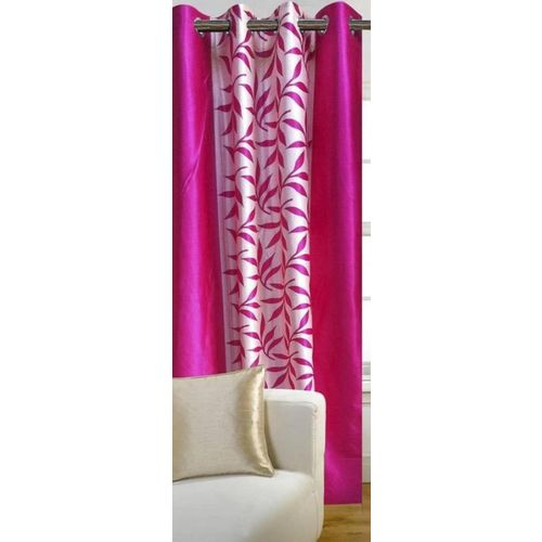 Decor World 274 cm (9 ft) Polyester Long Door Curtain Single Curtain(Floral, Pink)