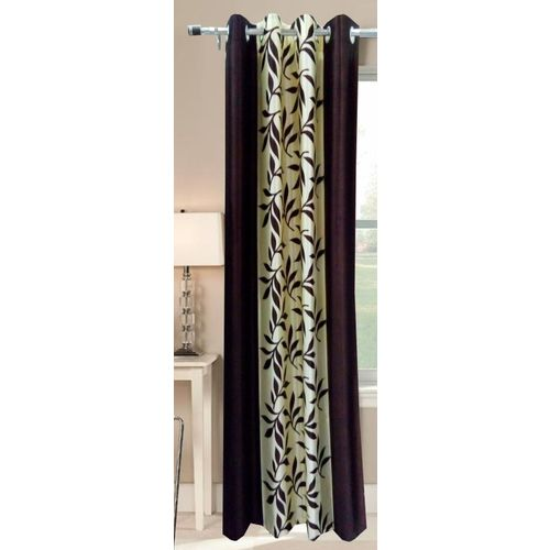 Decor World 213 cm (7 ft) Polyester Door Curtain Single Curtain(Floral, Brown)