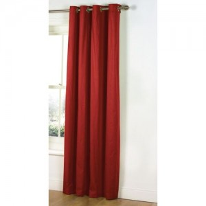 Decor World 274 cm (9 ft) Polyester Long Door Curtain Single Curtain(Plain, Red)