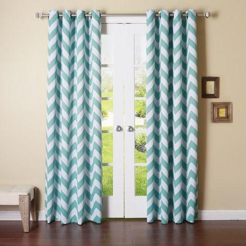Dekor World 215 cm (7 ft) Polyester Door Curtain (Pack Of 2)(Striped, Blue)