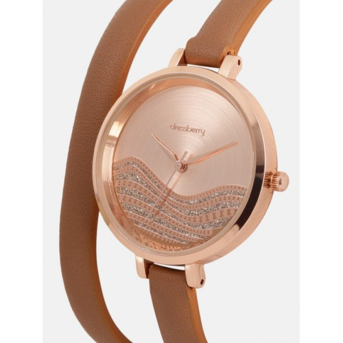 DressBerry Women Rose Gold-Toned Embellished Analogue Watch MFB-PN-SNT-F03