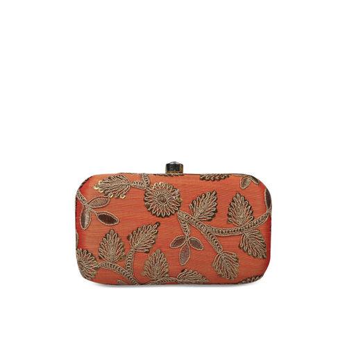 Anekaant Orange Embellished Clutch