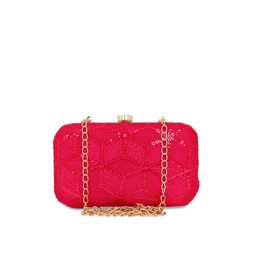 Anekaant Women Magenta Embroidered Clutch