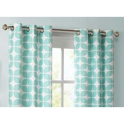 Dekor World Cotton Grey Printed with Voil Sheer Eyelet Curtain Set (Pack of 3)