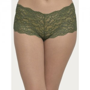 Clovia Women Green Lace Boyshorts PN2656P17XL