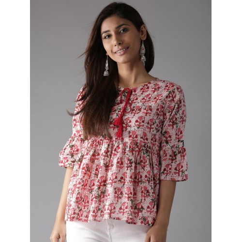 HERE&NOW Women Red & Off-White Printed Empire Top