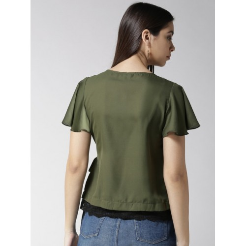 Style Quotient Women Olive Green Solid Wrap Top
