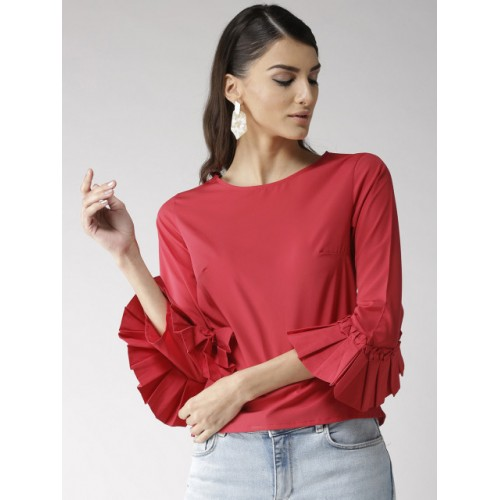 Popnetic Coral Red Polyester Solid Top