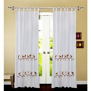 Linenwalas Birds Design Embroidery Print Cotton Door Curtain (Set of 2 Pcs) - Multi Color - 7ft