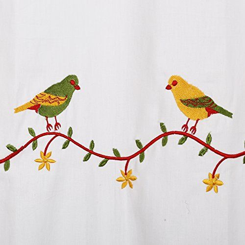 Linenwalas Birds Design Embroidery Print Cotton Door Curtain (Set of 2 Pcs) - Multi Color - 7ft