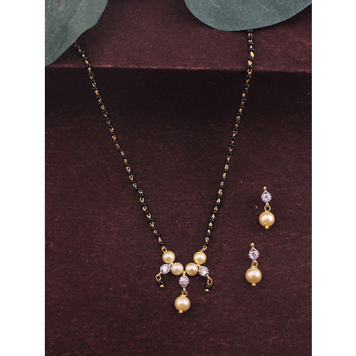 Sia Art Jewellery Gold-Plated Beaded Mangalsutra Set