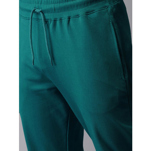 HERE&NOW Men Teal Blue Solid Track Pants