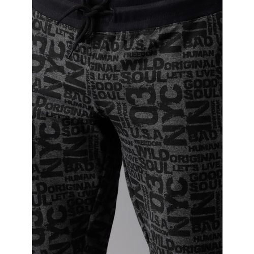 HERE&NOW Men Charcoal Grey & Black Printed Joggers