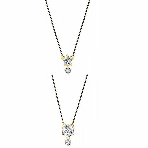 Archi Collection Jewellery Ethnic Traditional Gold Plated American Diamond Latest Design Mangalsutra Pendant Necklace with chain For Women and Girls