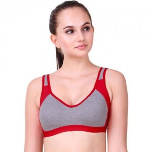 WOODPECKER PRINTS Women's Sports Non Padded Bra Women Sports Non Padded Bra(Red, Grey)