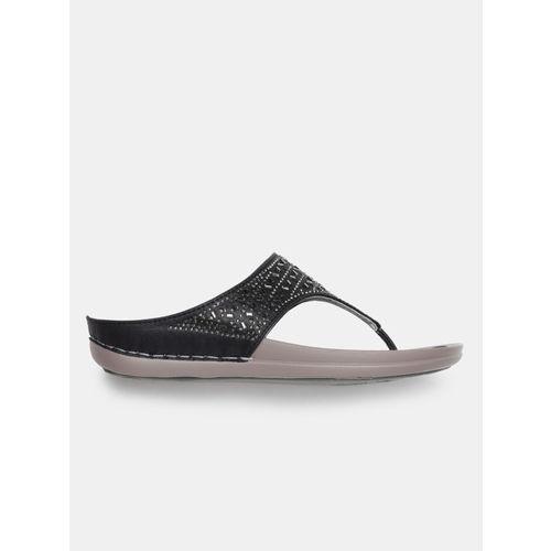 DressBerry Women Black Embellished Open Toe Flats