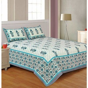 Salona Bichona 100% Cotton Green Ethnic Traditional Double Bedsheet with Two Pillow Covers.