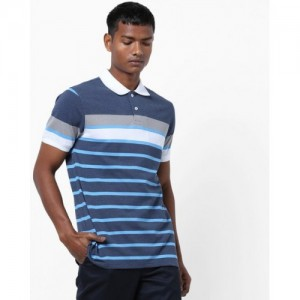 AJIO Blue Striped Polo Contrast Collar T-shirt