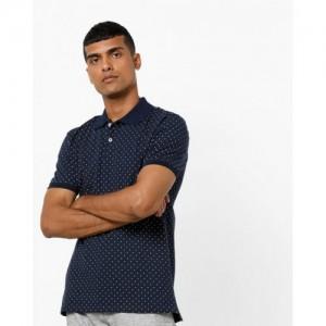 AJIO Navy Blue Polka Dot Slim Fit Polo T-shirt
