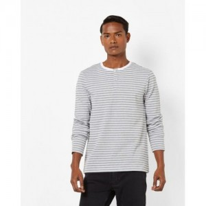AJIO Grey Striped Slim Fit Henley T-shirt