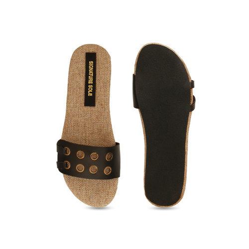 Signature Sole Women Black Solid Open-Toe Flats
