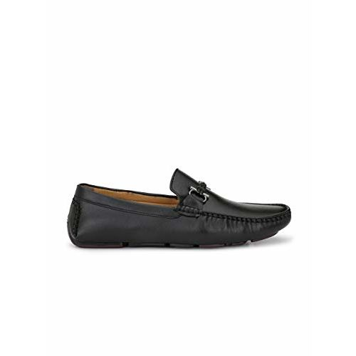 LEVANSE Men Formal Black Leather Loafers Driving Shoes