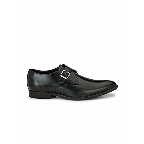 Levanse Single Belt Black Monk Shoes for Men