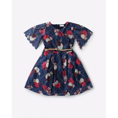 Peppermint Navy Blue Nylon Floral Print Fit & Flare Dress with Belt