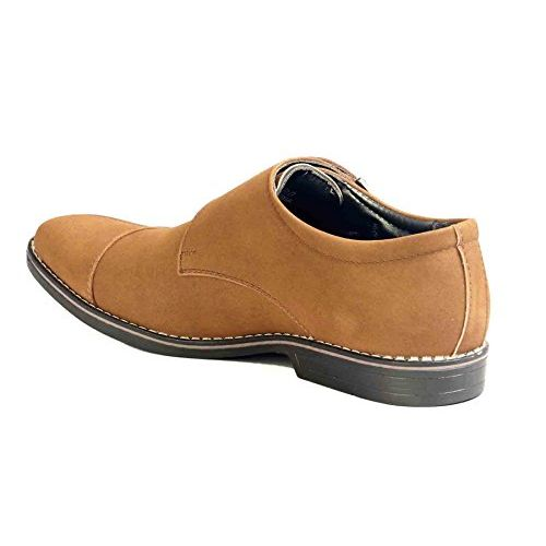 Levanse New Black/Matt Tan/Matt Brown Nubuck Leather Monk Trap Formal Slip on Shoes for Men and Boys.