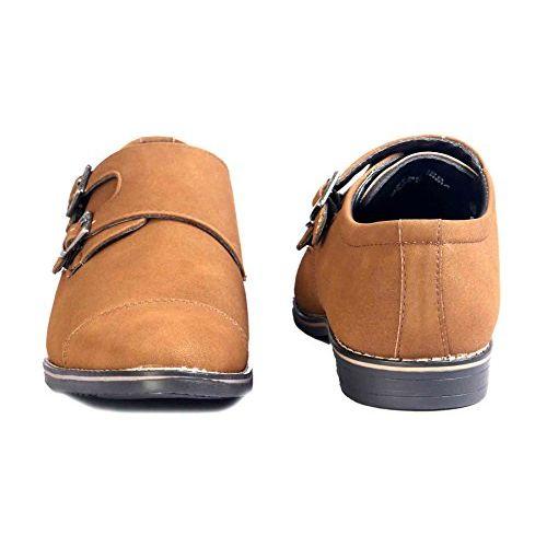 Levanse New Black/Matt Tan/Matt Brown Nubuck Leather Monk Trap Formal Slip on Shoes for Men and Boys.