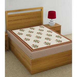 Salona Bichona 120 TC Cotton Single Motifs Bedsheet(Pack of 1, Red)