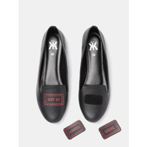 Kook N Keech Women Black Interchangeable Velcro Patch Ballerinas