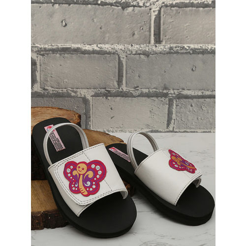 DChica Girls White & Black Printed Sliders