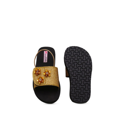 DChica Girls Gold-Toned & Black Solid Sliders