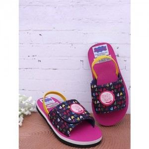DChica Girls Pink & Navy Blue Printed Sliders