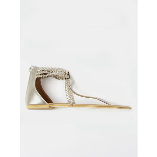 DressBerry Women Muted Gold-Toned Solid Flats