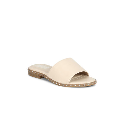 Truffle Collection Women Beige Solid Synthetic Open Toe Flats