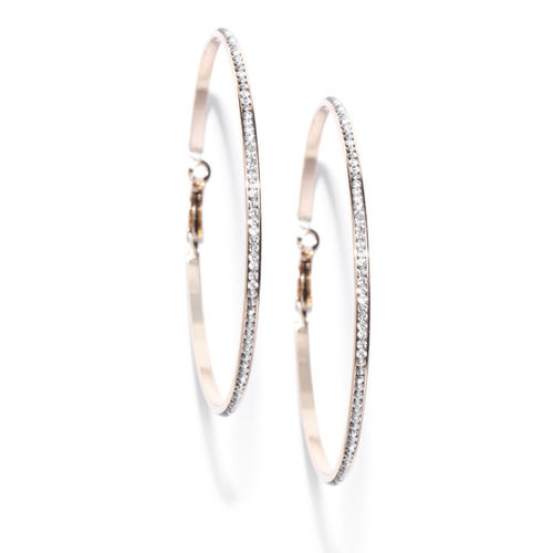 Jewels Galaxy Gold-Plated Stone-Studded Circular Handcrafted Hoop Earrings