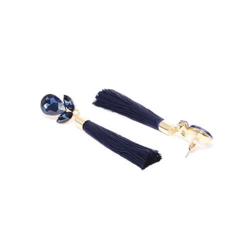Jewels Galaxy Navy Gold-Plated Tasseled Teardrop Shaped Drop Earrings