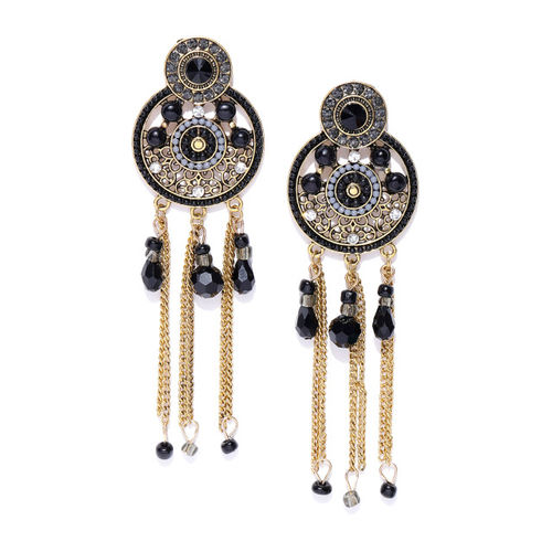 Jewels Galaxy Black Antique Gold-Plated Handcrafted Circular Drop Earrings
