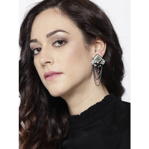 Jewels Galaxy Black & Silver-Toned Handcrafted Tasseled Contemporary Drop Earrings