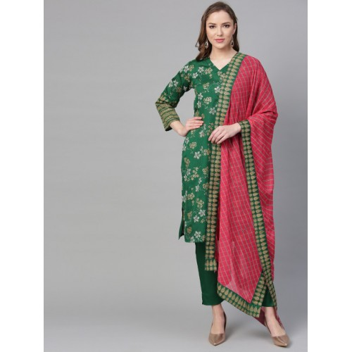 Ahalyaa Women Green & Golden Printed Kurta with Trousers & Dupatta
