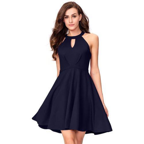 Addyvero Women Skater Blue Dress