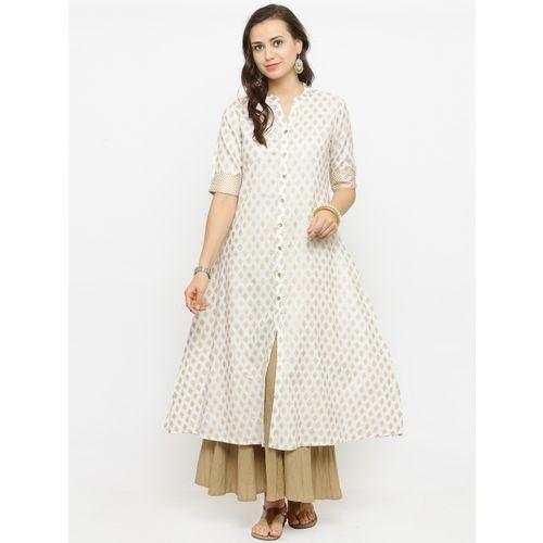 Varanga Women's White Half Sleeves Rayon kurtis