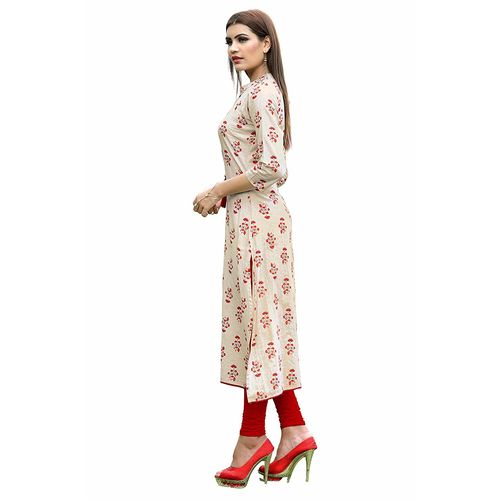 VAIKUNTH FABRICS Printed Kurti in White color and Flex Cotton fabric for womens (VF-KU-155)
