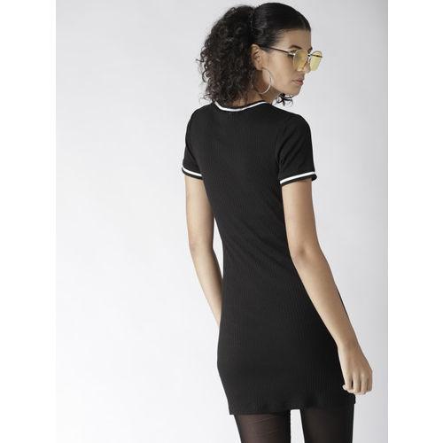 FOREVER 21 Women Black Self-Striped Sheath Dress