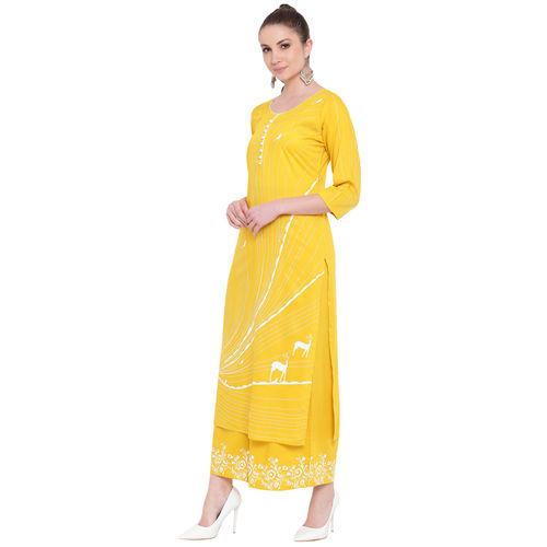 Lopa Women's Long Straight Fit Rayon Printed Yellow Kurta And Flared Printed Palazzo Set