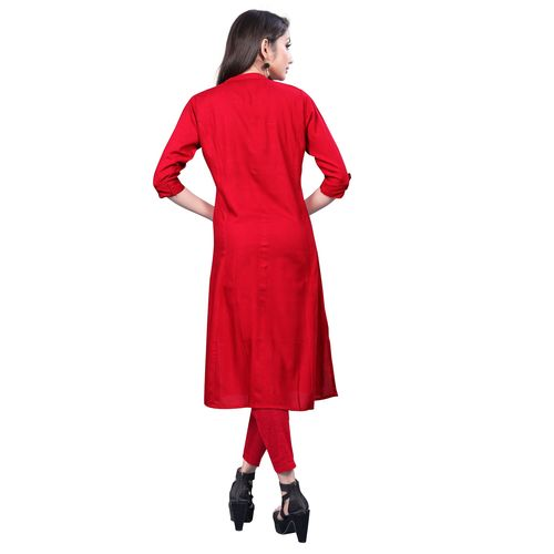 Great Rate Women's Rayon Plain Readymade Kurti (KT001 Red)