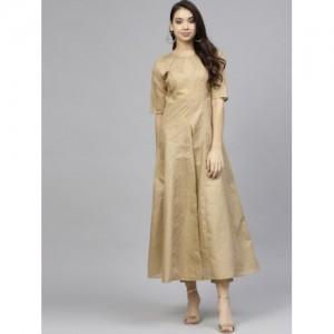 Ahalyaa Women Beige & Golden Printed Kurta with Trousers
