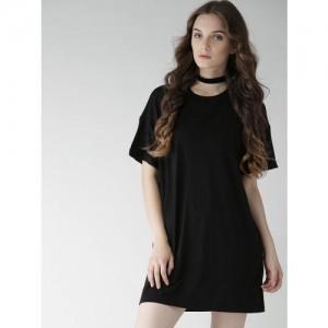 FOREVER 21 Black Solid A-Line Dress